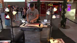 Spray paint artist on Fremont Street Las Vegas