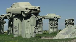 Stacked cars at Carhendge Nebraska