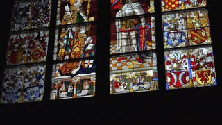 Stained glass window tilt in Cathedral of Cologne Dom 4k