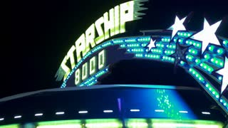 Starship 8000 carnival ride at festival 4k