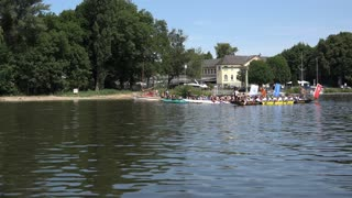 Start of row boat race in Main river Offenbach Germany 4k