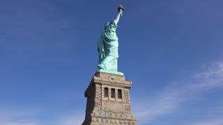 Statue of Liberty back side pan shot 4k