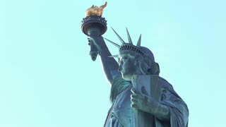 Statue of Liberty close up on face and torch 4k