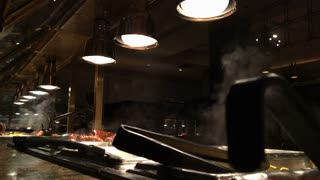 Steam coming from buffet food.