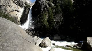 Stream of lower falls at Yosemite national park