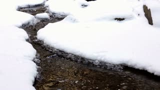 Stream running through snow and ice