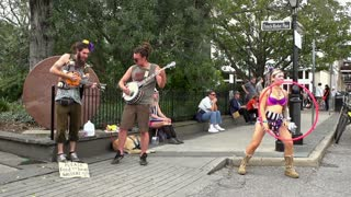 Street performers at French Market Place slow motion p1
