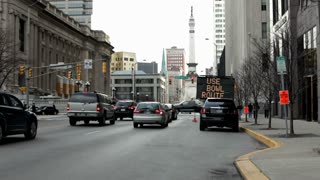 Street sign for traffic during Super Bowl Indianapolis