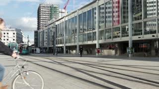 Street train going by at Willy Brandt Platz