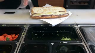 Sub sandwich made at restaurant