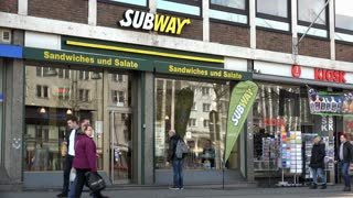 Subway Sandwich shop in Cologne Germany 4k