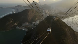 Sugarloaf mountain with cable car approaching the top 4k