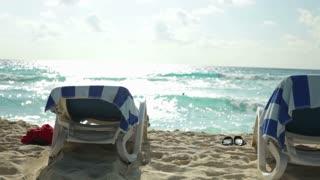 Sunny day at the beach pan shot