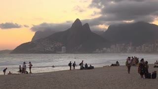 Sunset at Rio beach with Two Brothers mountain in background 4k