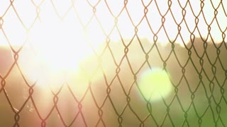 Sunset flare through chain link fence