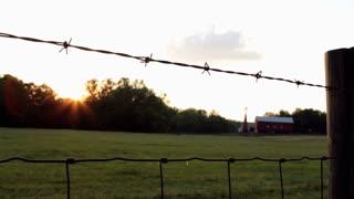 Sunset on farm yard