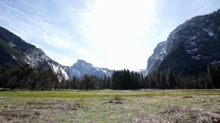 Super wide angle of yosemite mountains and field