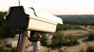 Surveillance Camera on top of building