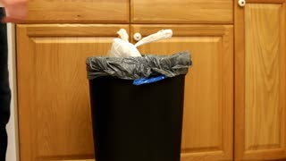 Taking out Trash Bag from Kitchen garbage can