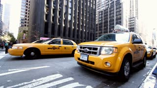 Taxi on New York City sidewalk