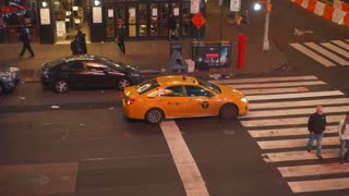 Taxi stopped at crosswalk in New York City 4k