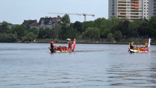 Teams competiting in row boat race on Main river 4k