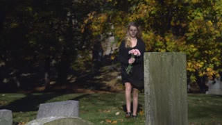 Teenage girl visiting grave in cemetery with pink flowers 4k
