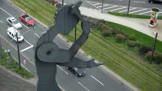 The Hammering Man statue in Frankfurt Germany 4k