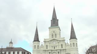 The Saint Louis Cathedral in downtown New Orleans tilt
