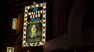 The Walter Kerr Theater advertising for The Crucible 4k