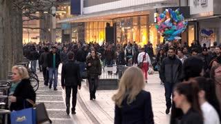 The Zeil premier pedestrian promenade shopping of Frankfurt Germany 4k