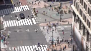 Tilt shift shot of pedestrians and traffic in New York City 4k
