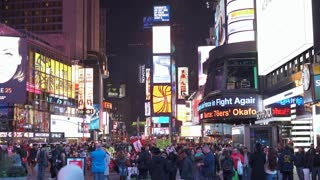 Times Square New York City downtown at night 4k
