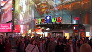 Toys R Us in downtown New York City Times Square at night 4k