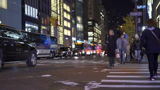 Traffic at 5th Avenue in New York City at night 4k