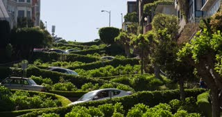 Traffic coming through winding Lombard Street 4k