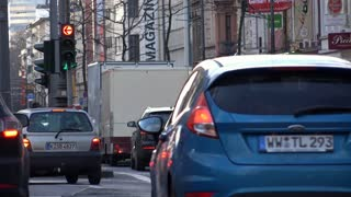 Traffic going through Cologne Germany downtown 4k