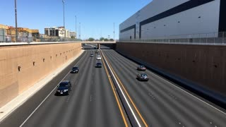 Traffic going underneath overpass in city of Las Vegas 4k