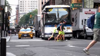 Traffic in downtown New York City establishing shot 4k