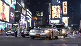Traffic in Times Square of New York City 4k