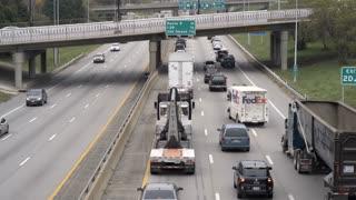 Traffic on Highway 70 going through Kansas City 4k