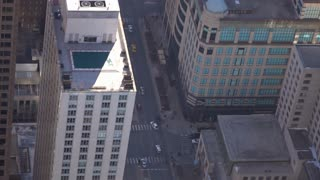 Traffic on streets of downtown Chicago seen from above slow motion