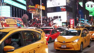 Traffic stopped at light in downtown Times Square 4k