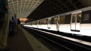 Train exits L'Enfant Plaza Metro stop in Washington DC