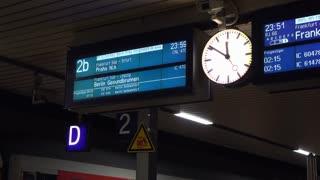Train information board at Mannheim Germany station 4k