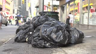 Trash bags in streets of New york City
