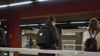 Travelers waiting in train station of Frankfurt Germany 4k