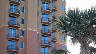Tropical Hotel balcony in warm weather destination 4k