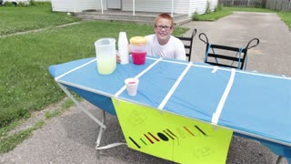 Two boys running Lemonade stand