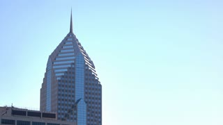 Two Prudential Plaza on bright blue sky 4k